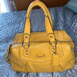 COACH yellow leather satchel purse